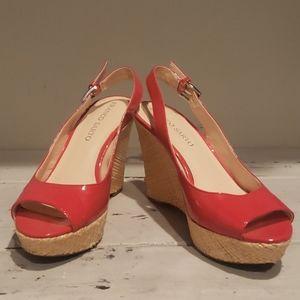 Franco sarto Sarah red patent leather wedge heels